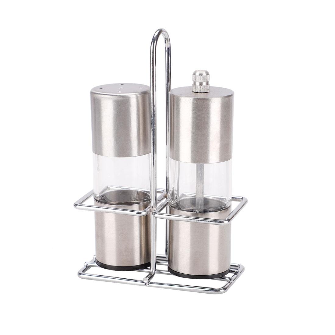 """4.8"""" Stainless Steel Pepper Grinder Salt Shaker Set with Adjustable Coarseness"""