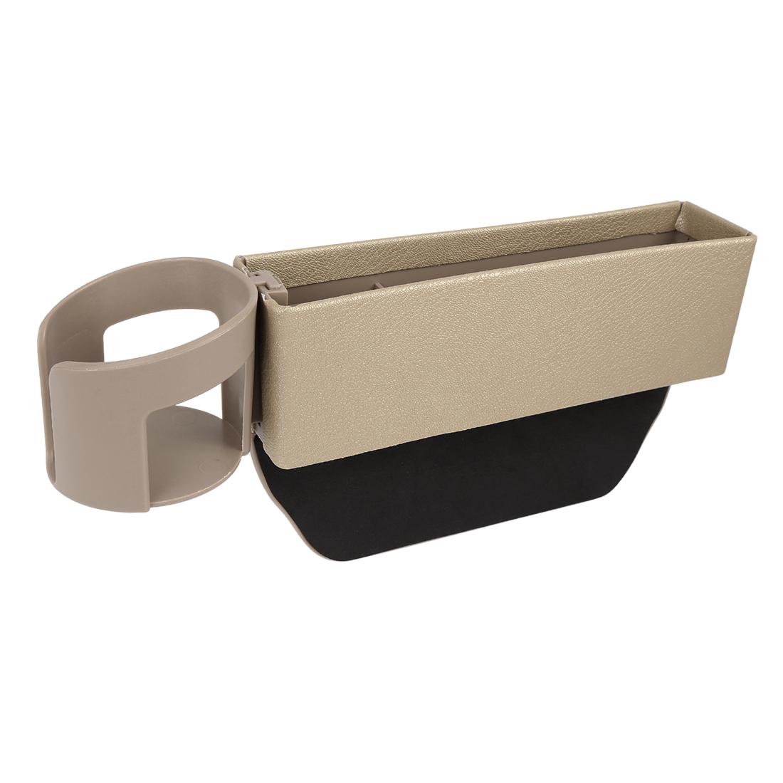 Beige PU Leather Car Seat Crevice Storage Driver Passenger Side Gap Organizer