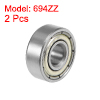 694ZZ Deep Groove Ball Bearings Z2 4x11x4mm Double Shielded Carbon Steel 2pcs