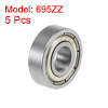 695ZZ Deep Groove Ball Bearings Z2 5x13x4mm Double Shielded Carbon Steel 5pcs