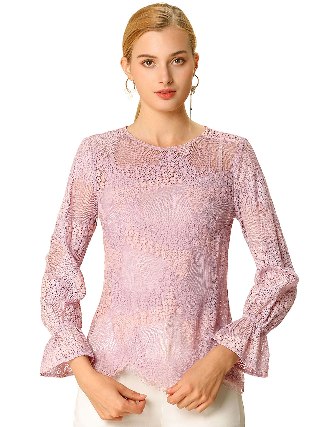 Allegra K Women's Round Neck Ruffle Long Sleeves Lace Top Pink XS
