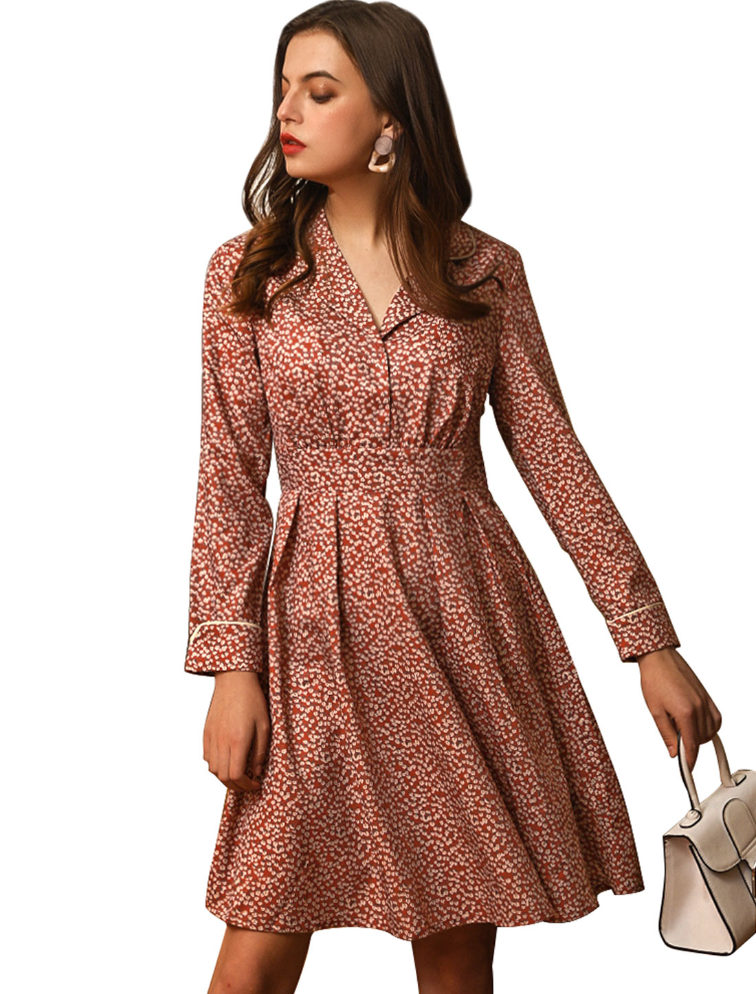 Women's Vintage Long Sleeve Lapel Casual Floral A-Line Dress Red M (US 10)