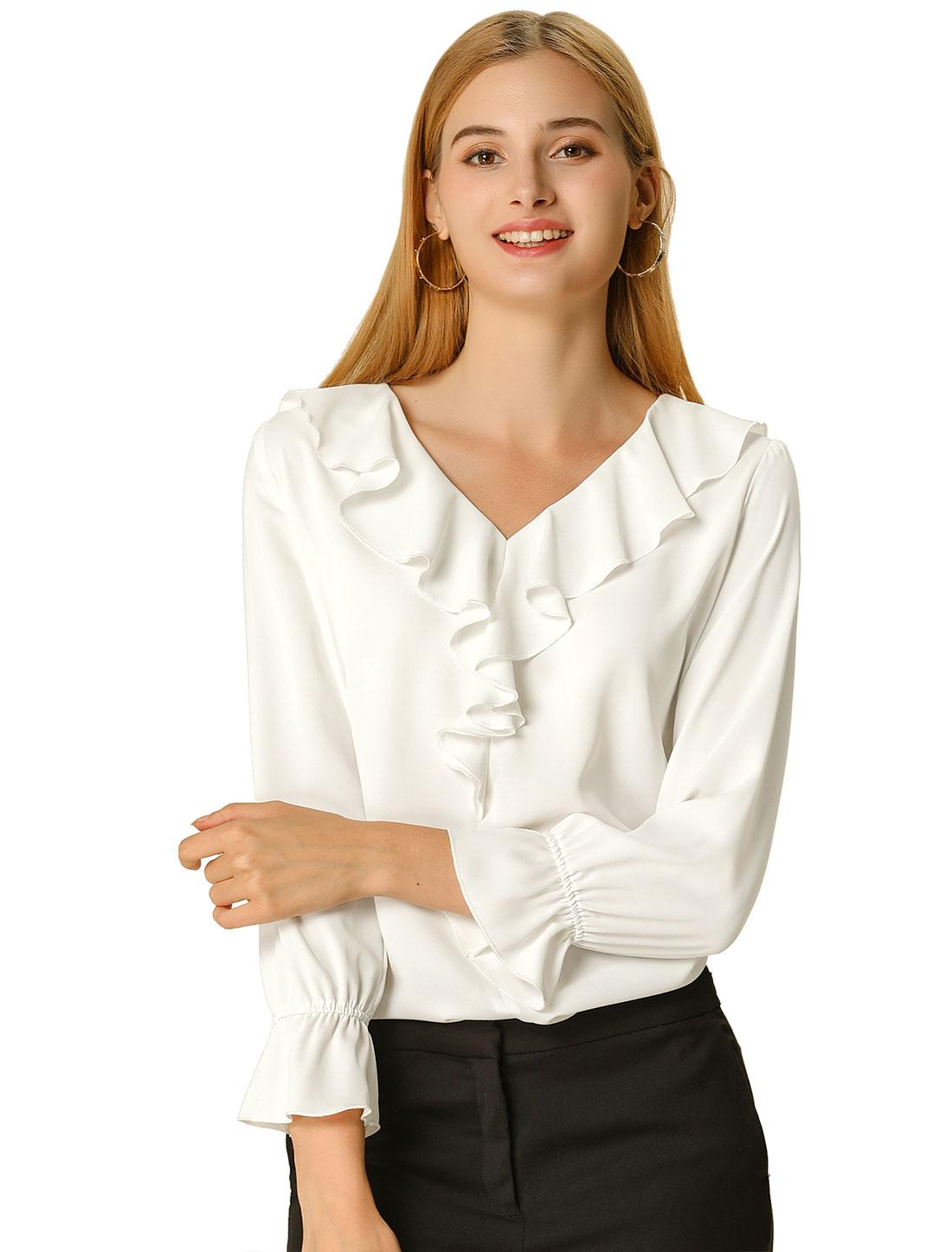 Allegra K Women's Ruffle V Neck Chiffon Blouse White L (US 14)