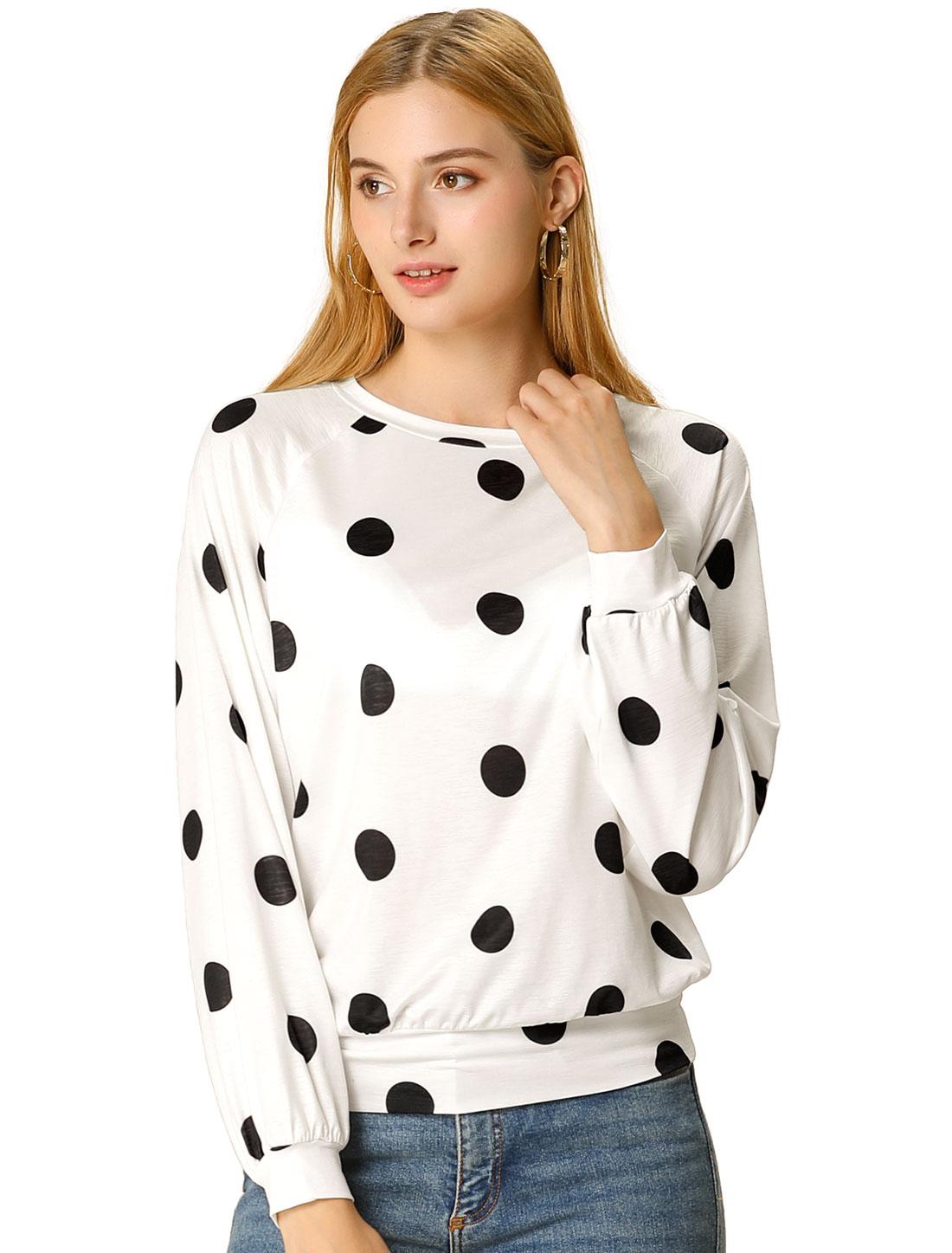 Women's Loose Casual Polka Dot Long Sleeve Top White-Black S