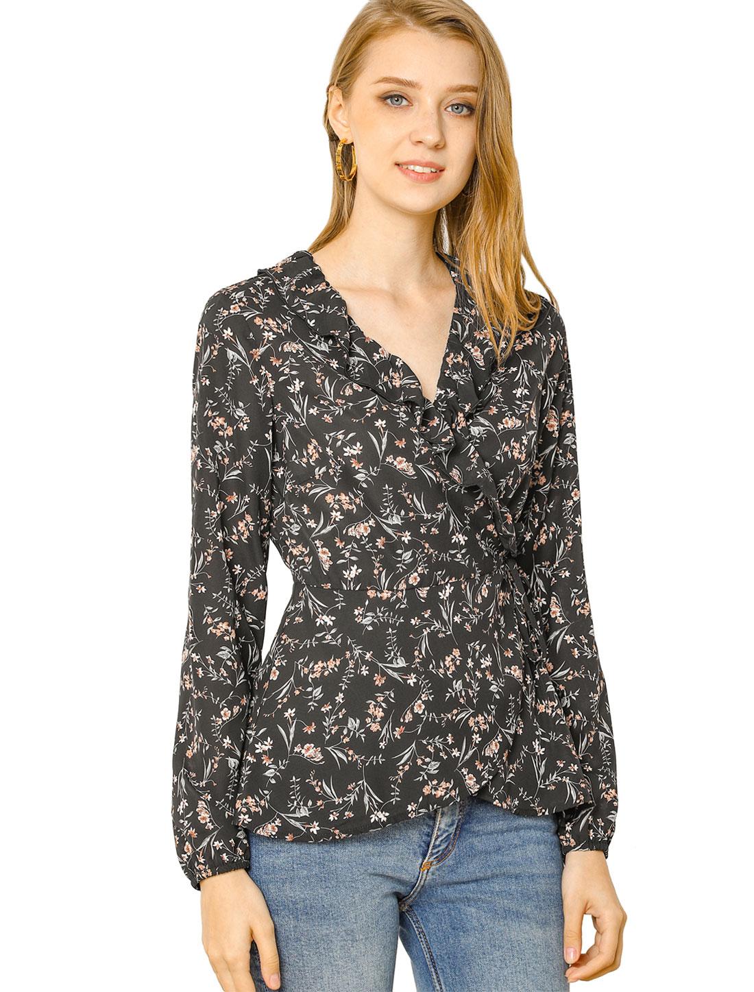 Women's Floral Ruffle V Neck Self Tie Wrap Peplum Top Black XL