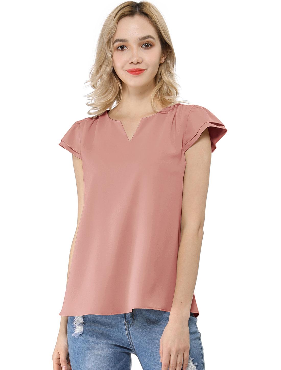 Allegra K Women's Work Business Casual Cap Sleeve Blouse Pink L