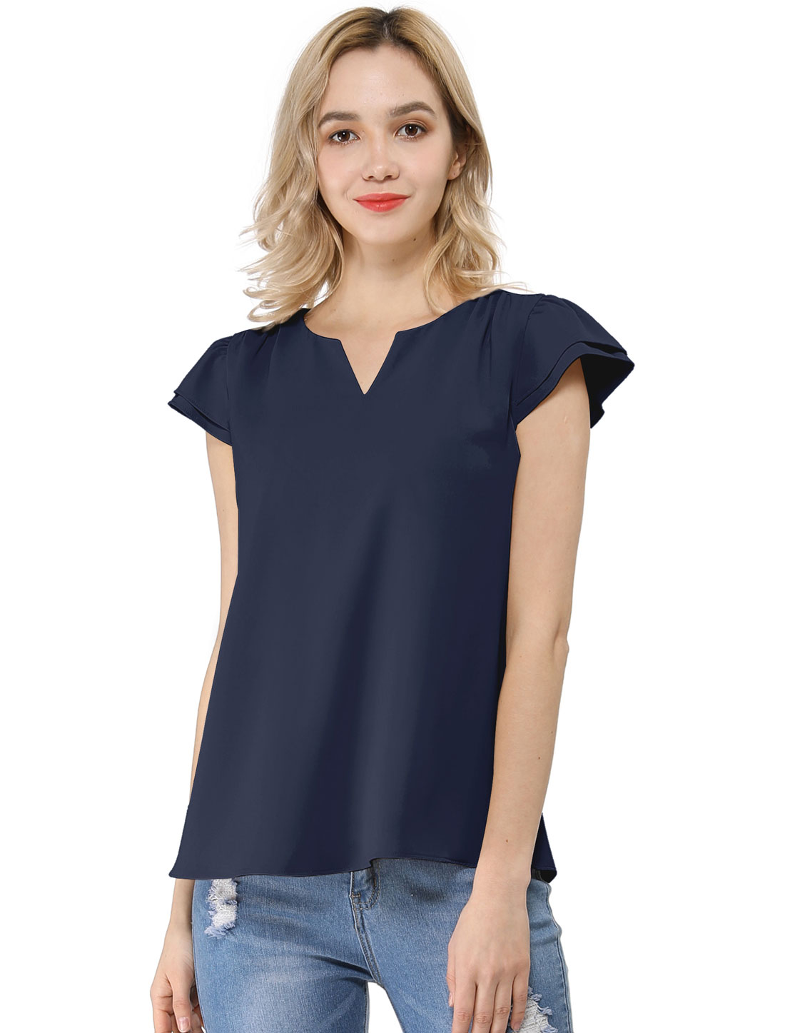 Allegra K Women's Work Business Casual Cap Sleeve Blouse Dark Blue L