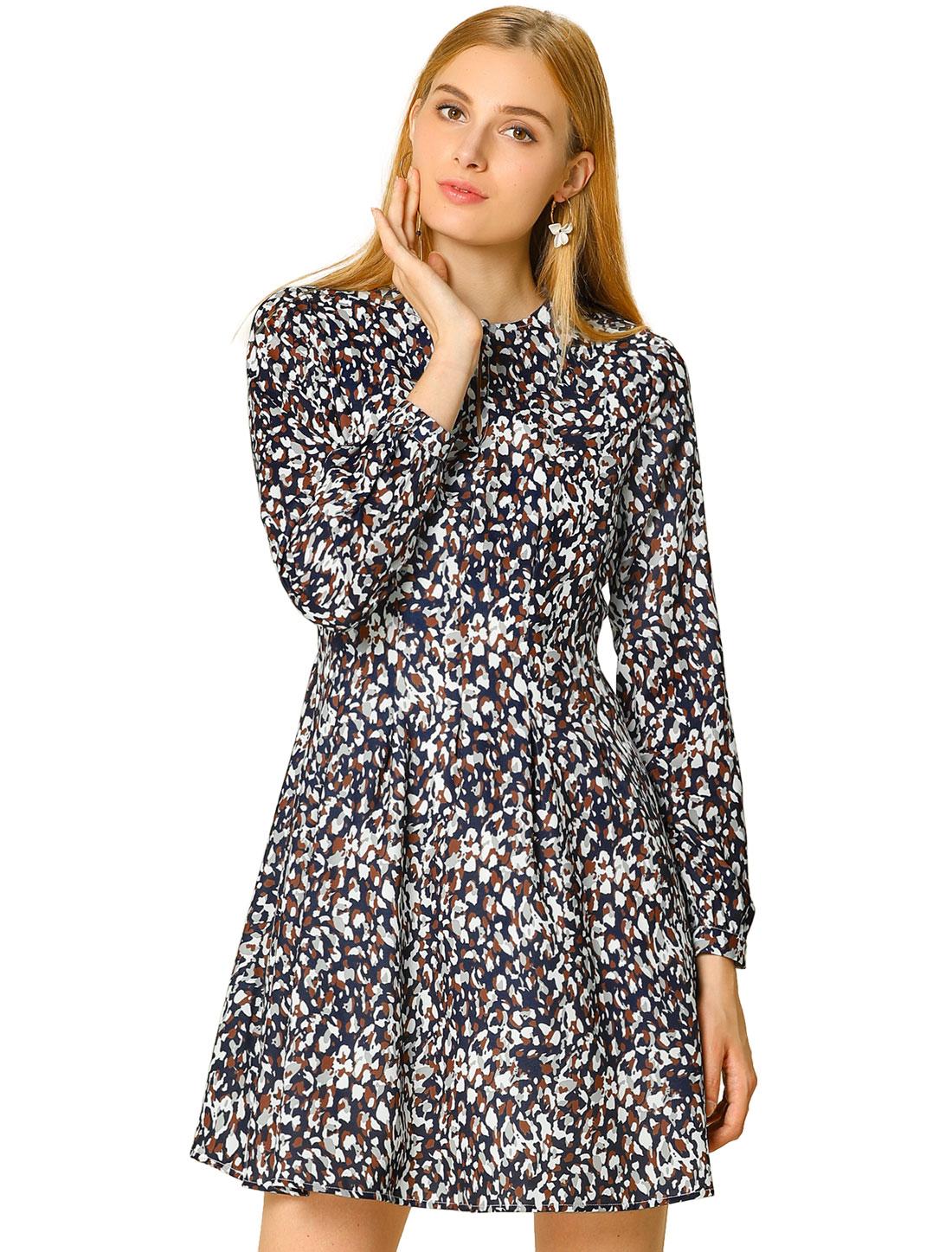 Allegra K Women's A-line Pleated Flared Leopard Dress Navy Blue S (US 6)