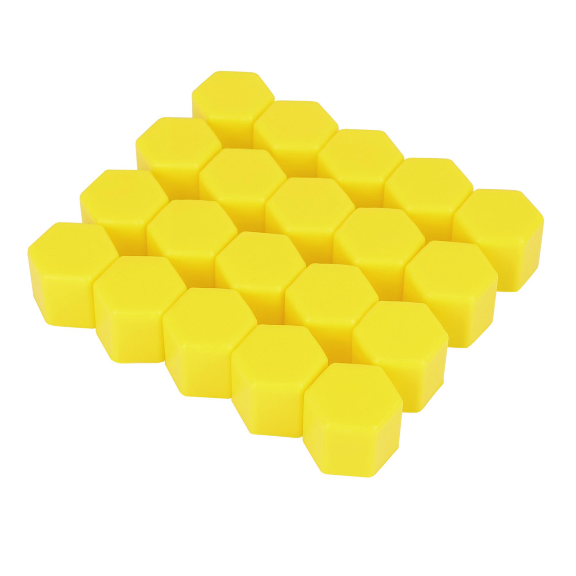 20pcs 17mm Yellow Silicone Car Wheel Lug Hub Covers Nut Bolt Screw Dust Caps