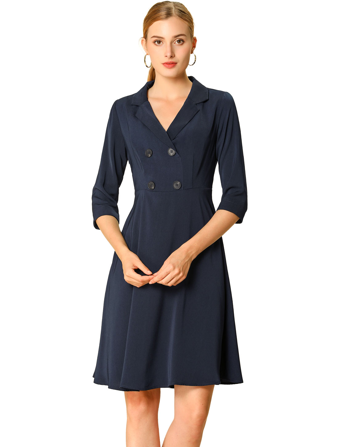 Allegra k Womens Work Office Turn Down Collar A-Line Dress Navy Blue XS