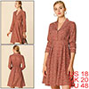 Women's Vintage Long Sleeve Lapel Casual Floral A-Line Dress Red XL (US 18)