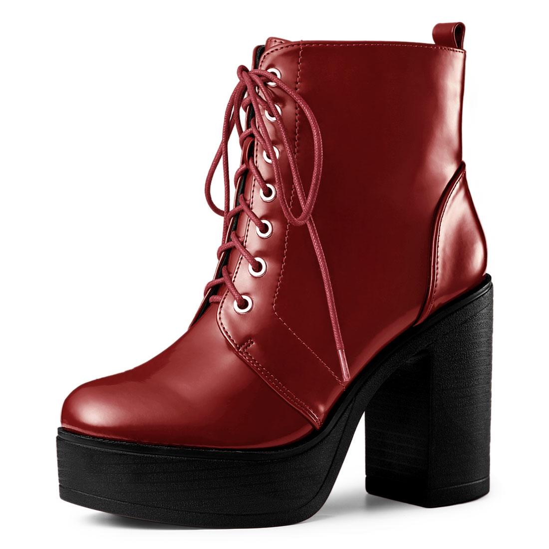 Allegra K Women's Platform Chunky High Heel Lace Up Combat Boots Red US 7.5