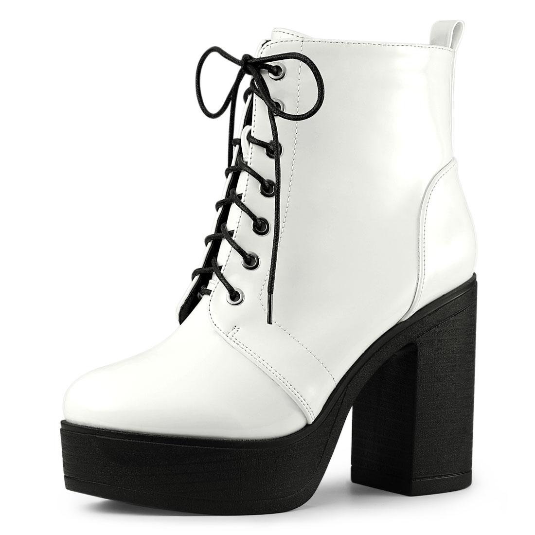 Allegra K Women's Platform Chunky High Heel Lace Up Combat Boots White US 7.5
