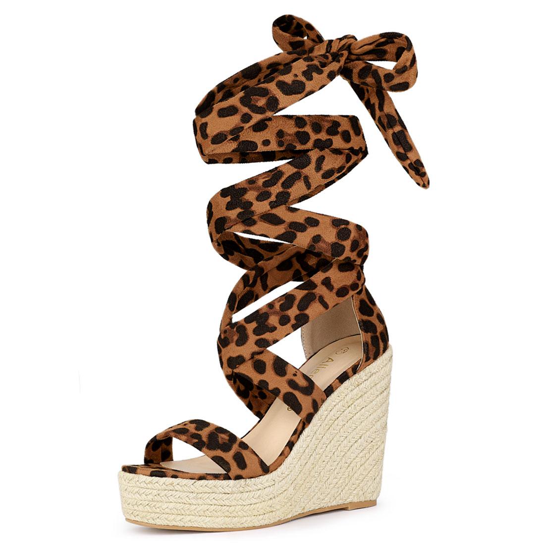 Allegra K Women's Espadrille Platform Wedges Heel Lace Up Sandals Leopard US 6
