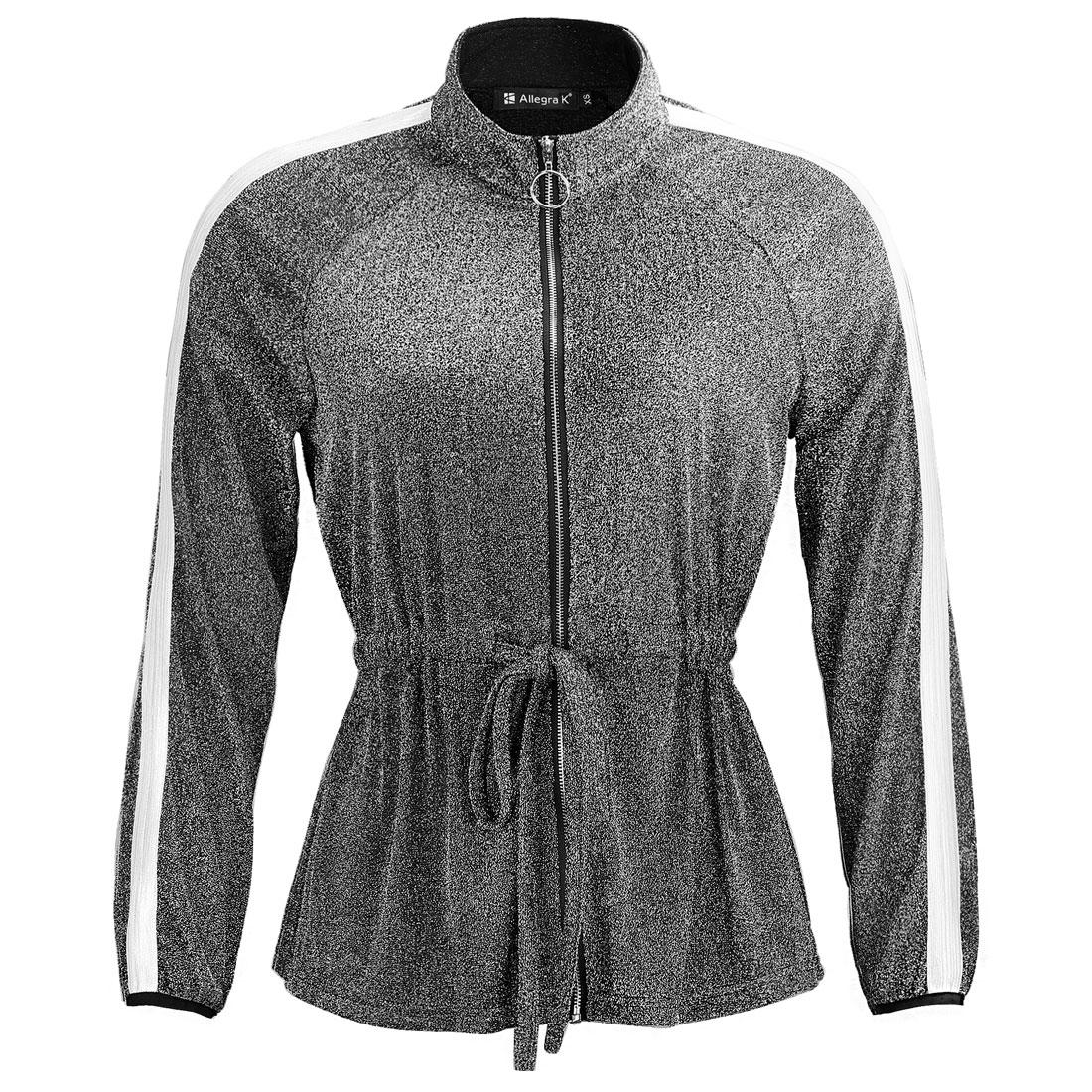 Women's Glitter Lightweight Zip Waist Drawstring Jacket Black L (US 14)