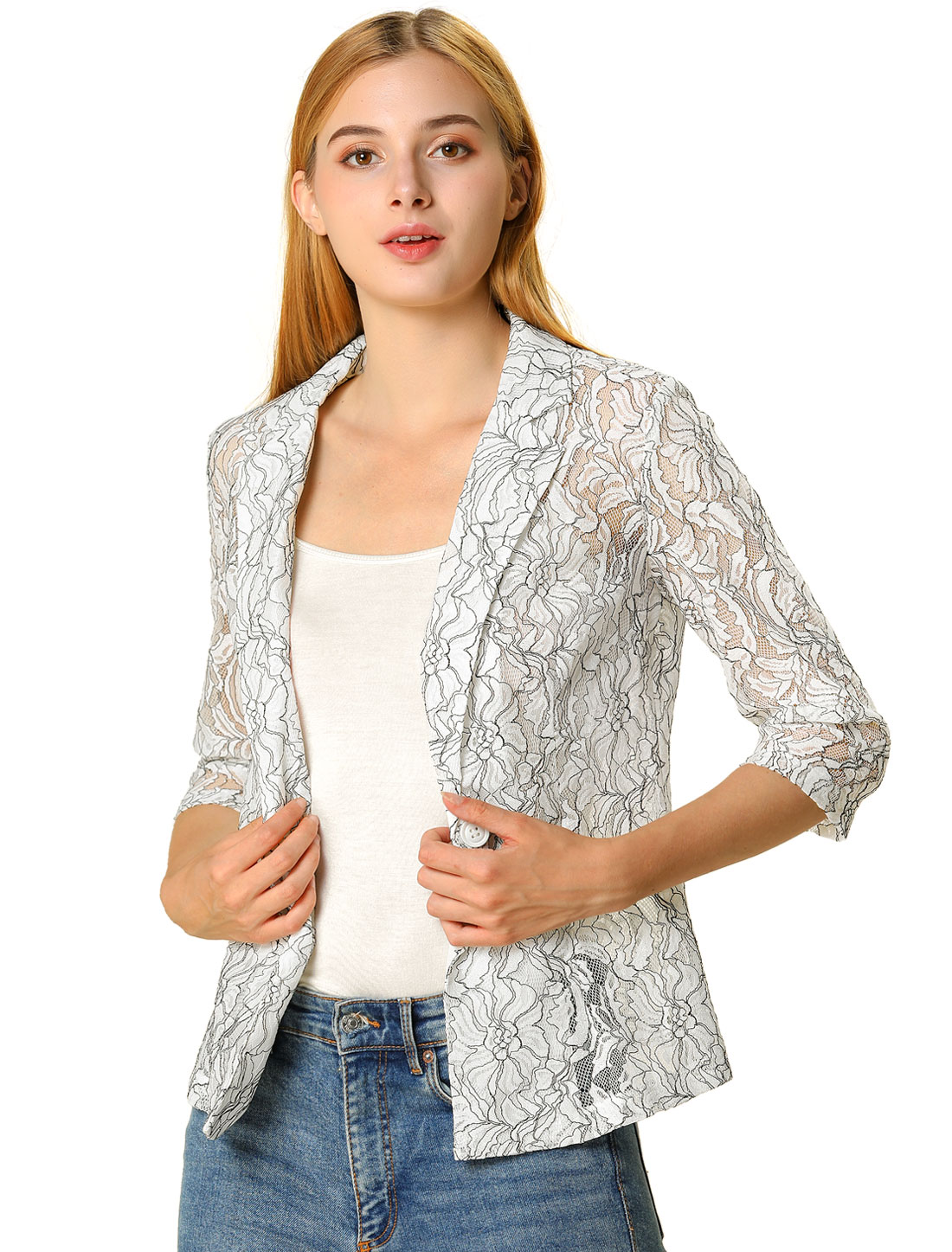 Women's 3/4 Sleeves Notched Lapel One-Button Lace Blazer White S (US 6)