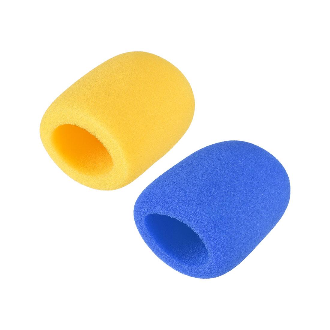 2PCS Sponge Foam Mic Cover Handheld Microphone Windscreen Blue Yellow for KTV