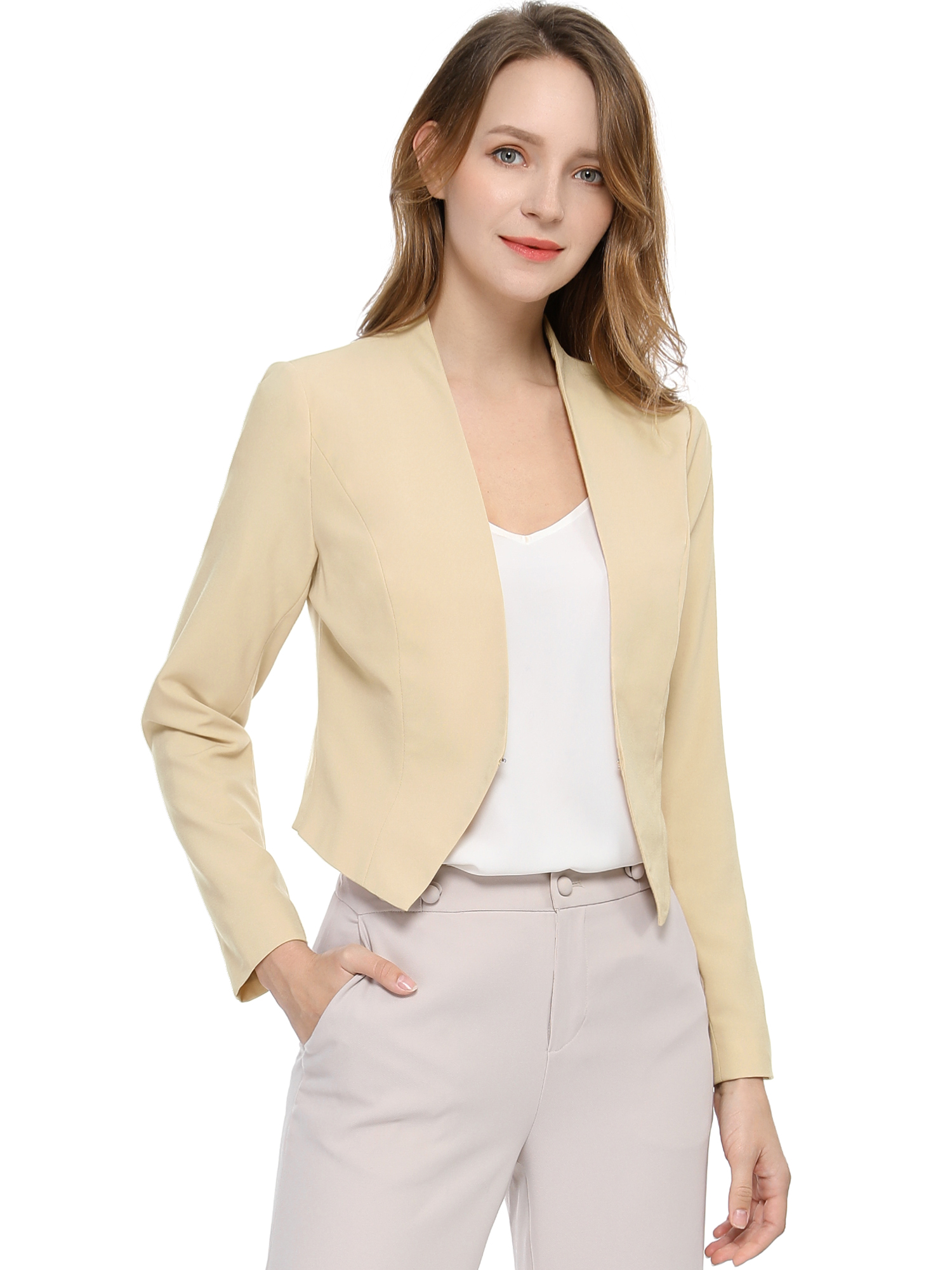 Allegra K Women Collarless Work Business Cropped Blazer Beige S