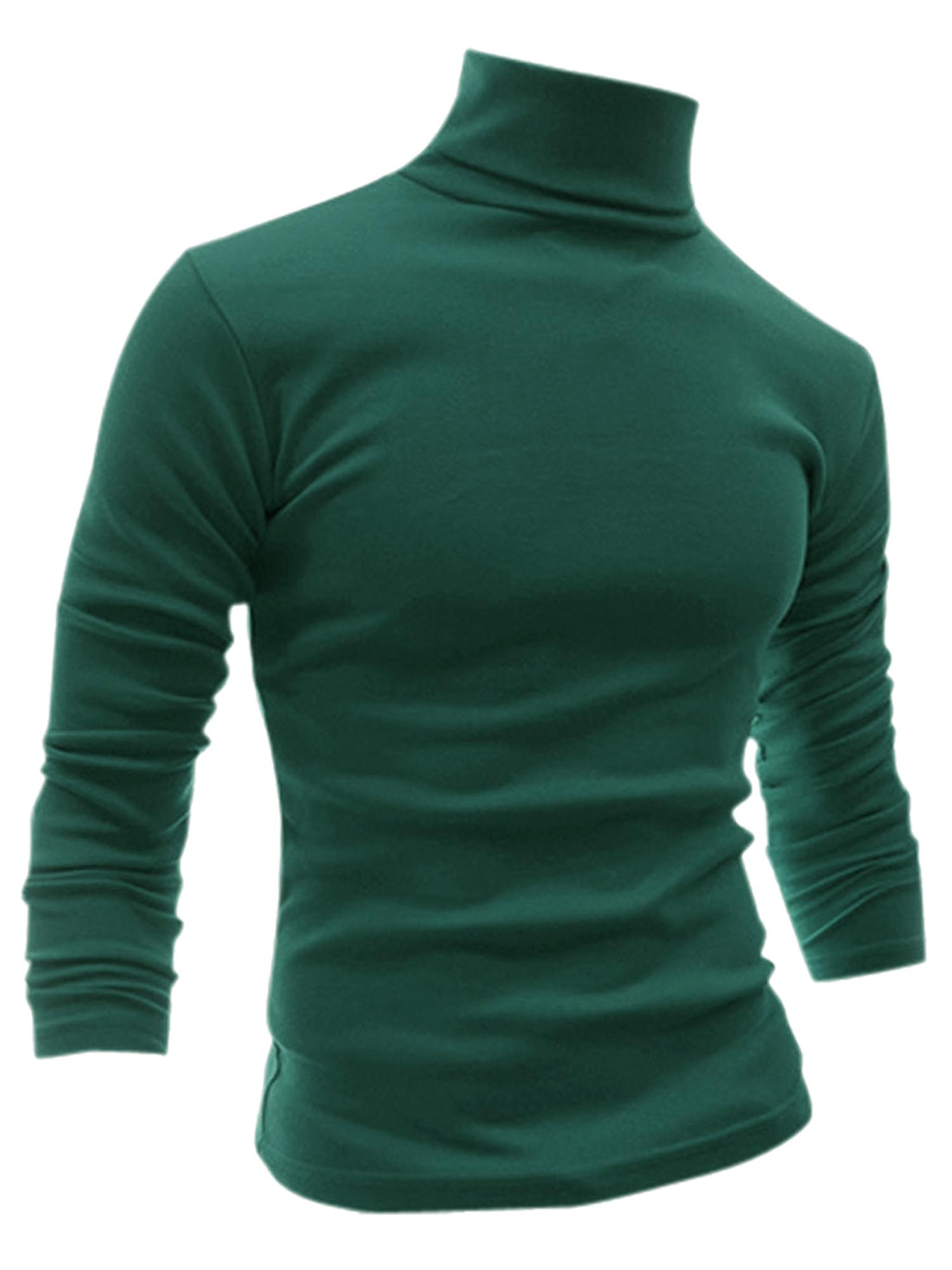Men Turtle Neck Long Sleeves Stretchy Shirt Dark Green XXL US 50