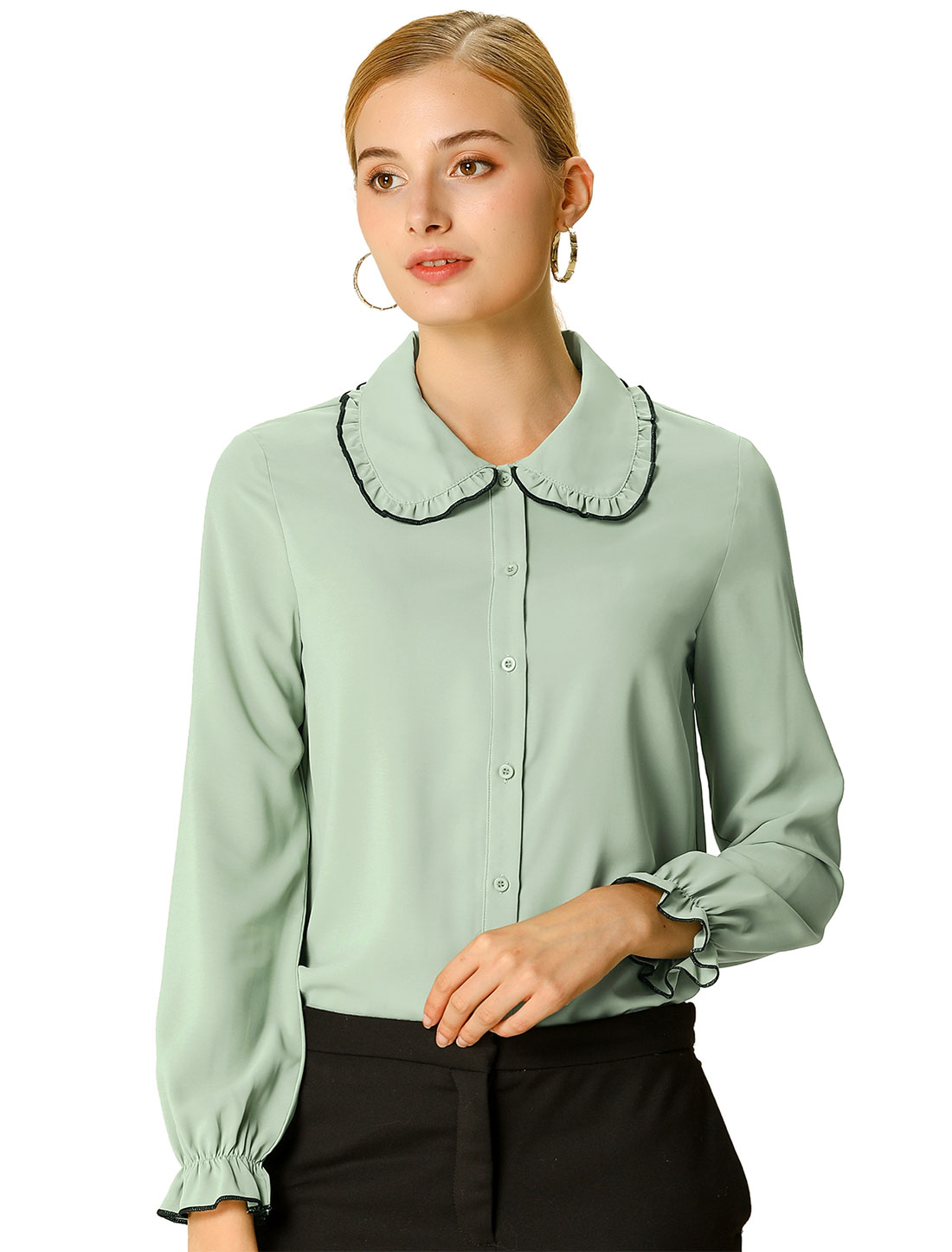 Women's Sweet Ruffle Peter Pan Collar Long Sleeves Button Up Shirt Green XS