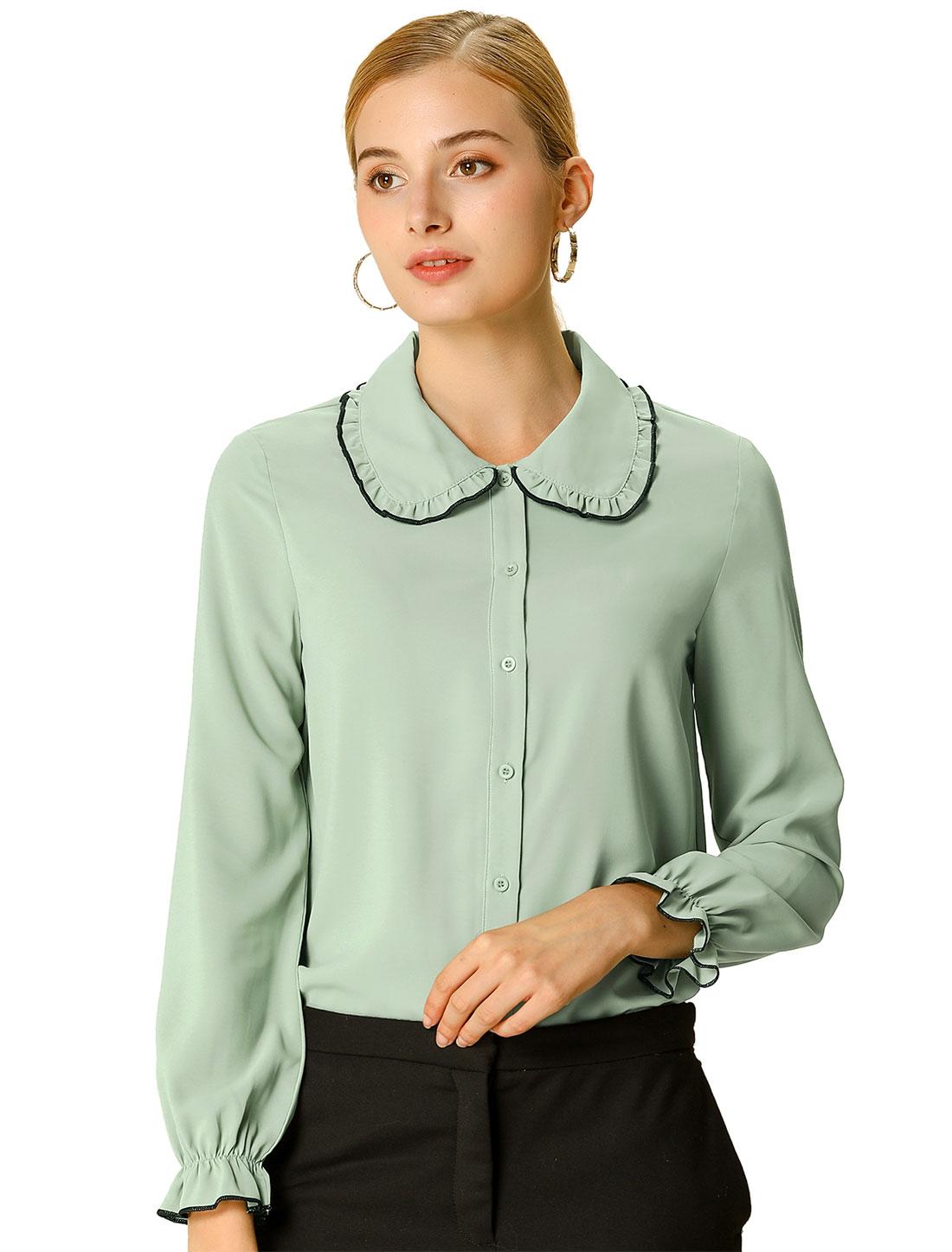 Women's Sweet Ruffle Peter Pan Collar Long Sleeves Button Up Shirt Green XL