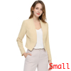 Allegra K Women Collarless Work Business Cropped Blazer Beige S
