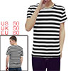 Men Crewneck Color Block Short Sleeve Striped T Shirt Black XXL US 50