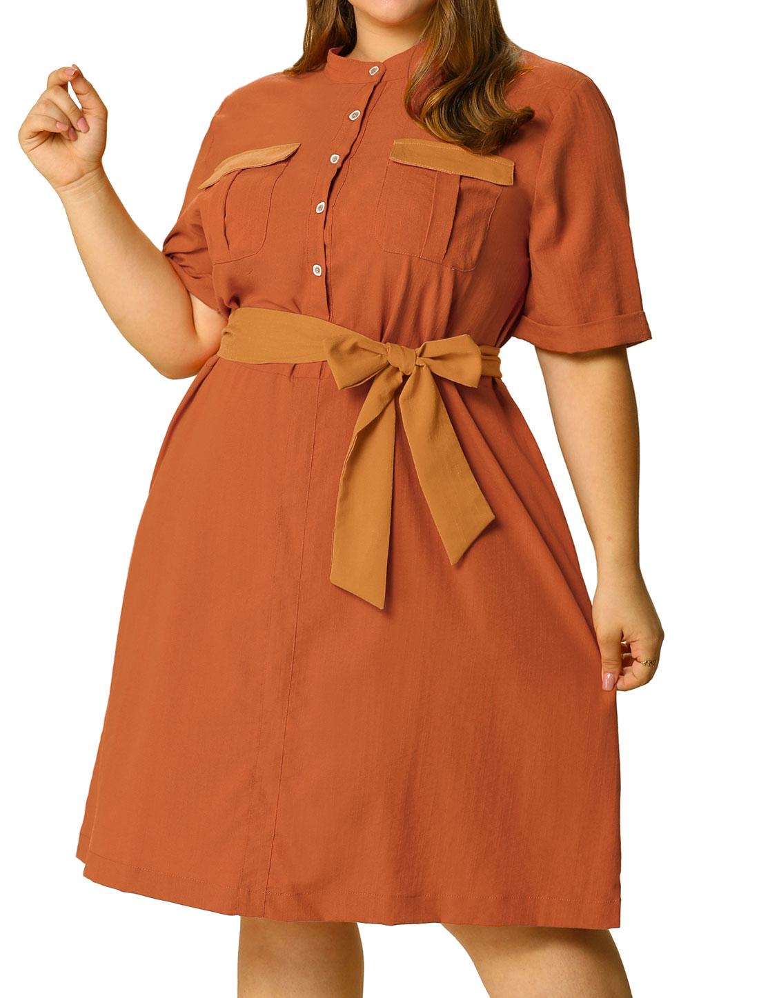 Women's Plus Size Tie Waist Belt Button Down Casual Midi Shirt Dress Orange 2X