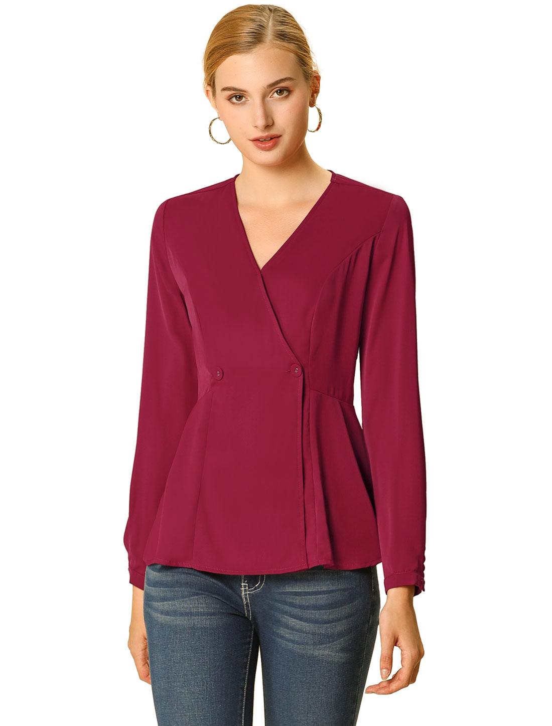 Allegra K Women's V Neck Long Sleeves Peplum Blouse Top Red XS