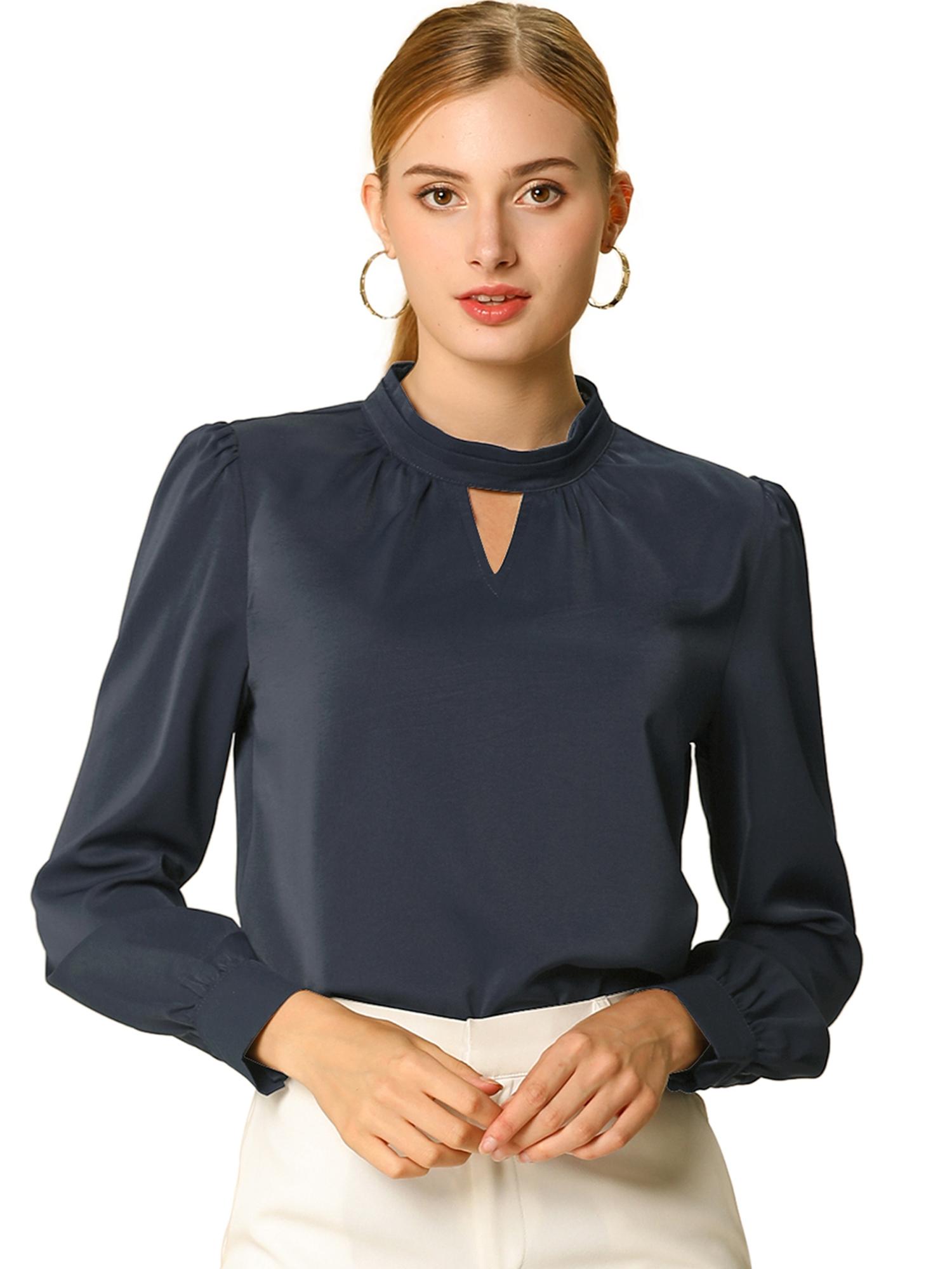 Allegra K Women's Keyhole Stand Collar Long Sleeve Blouse Navy Blue S (US 6)