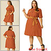 Women's Plus Size Tie Waist Belt Button Down Casual Midi Shirt Dress Orange 1X