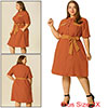 Women's Plus Size Tie Waist Belt Button Down Casual Midi Shirt Dress Orange 2X