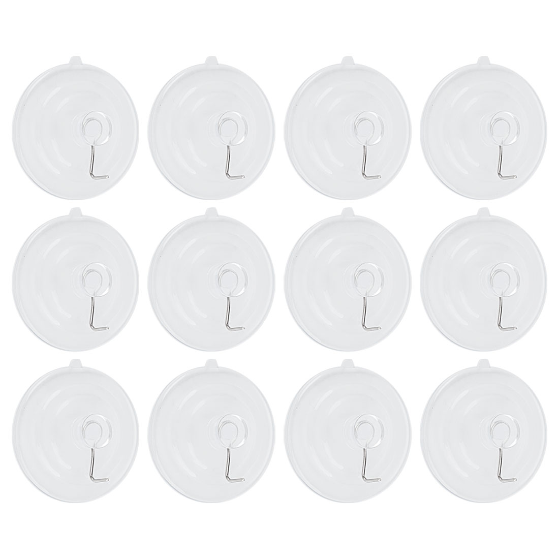 """12pcs Suction Cup Hooks 2.6"""" Removable Metal Hook Wall Vacuum Hooks Hanger Clear"""