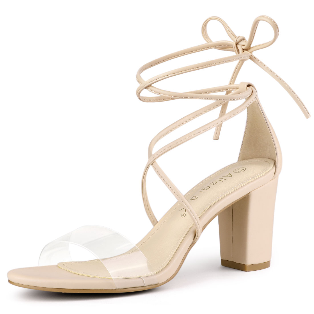 Allegra K Women's Clear Strap Block Heel Lace Up Heels Sandals Beige US 7