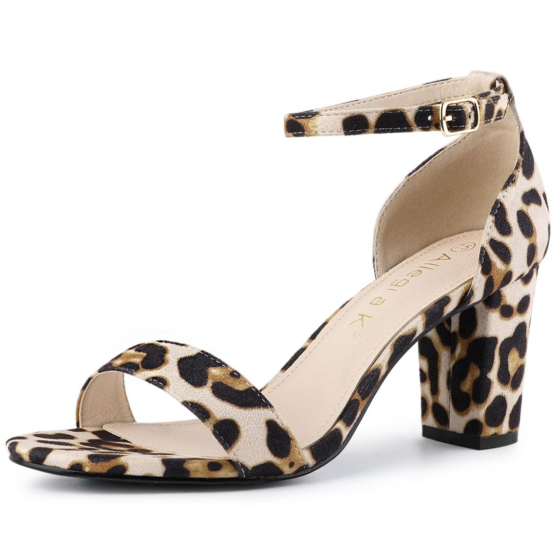 Allegra K Women's Ankle Strap Chunky High Heel Sandals White Leopard US 9