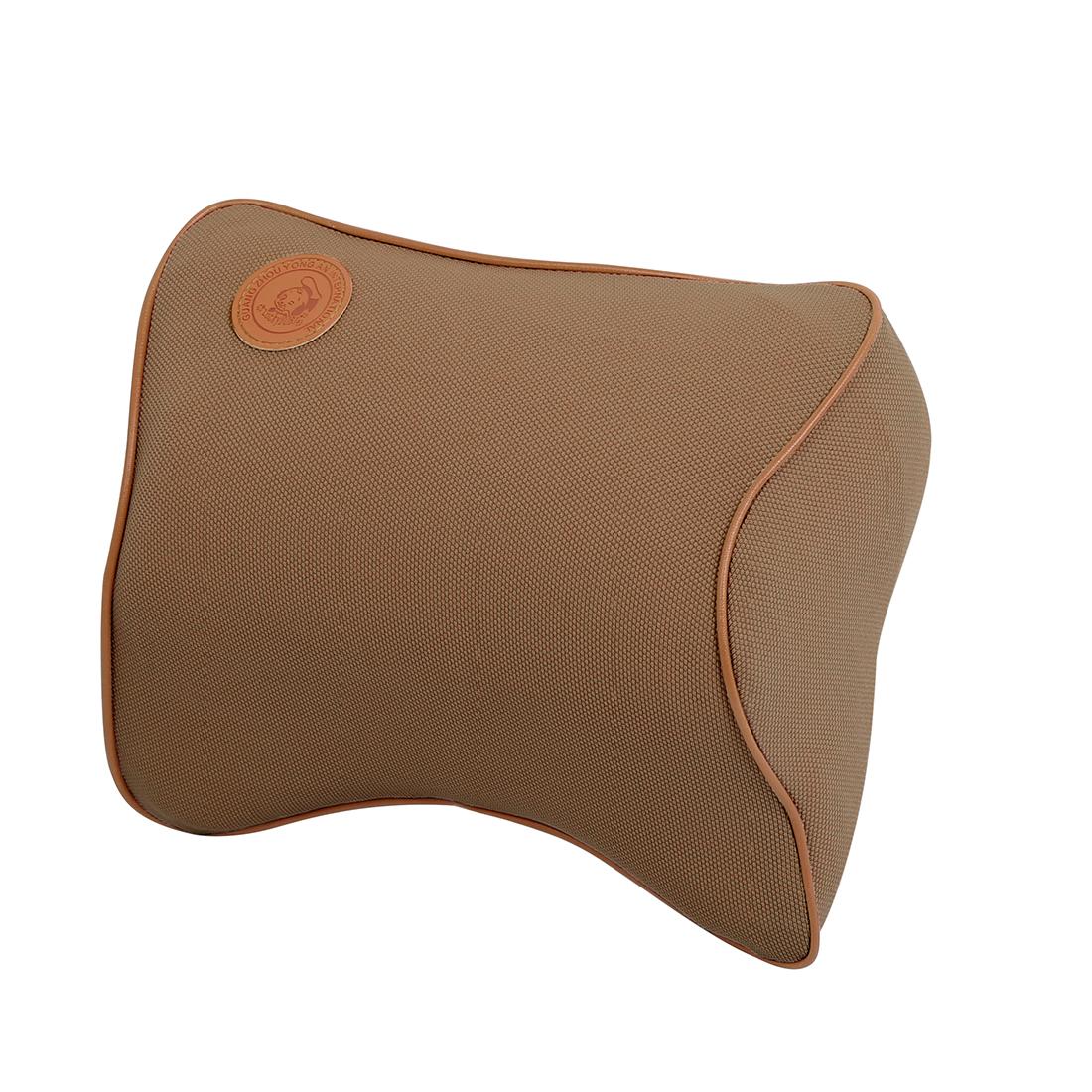 Brown Auto Car Seat Neck Pillow Headrest Cushion Memory Foam Adjustable Strap