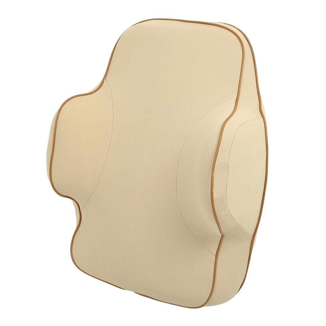 Car Seat Back Pillow Lumbar Rest Balanced Softness Memory Foam Cushion Beige