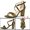 Allegra K Women's Colorful Cross Strappy Block Heel Sandals Gold US 6