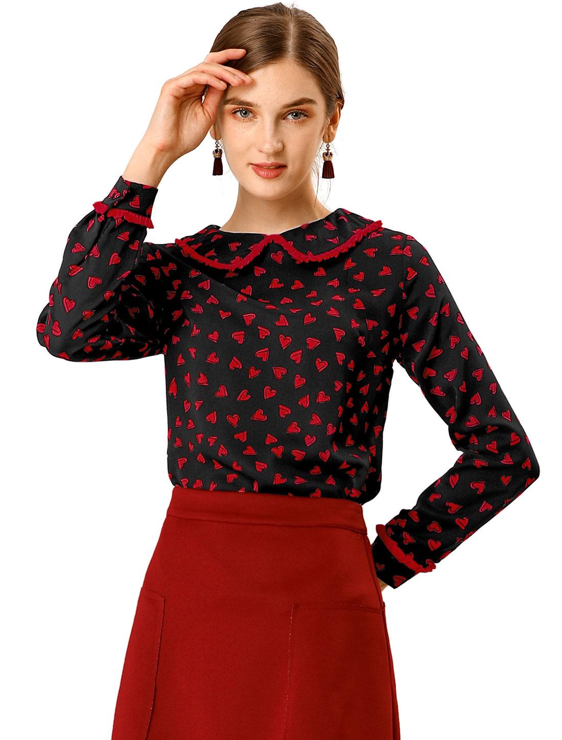 Allegra K Women's Cute Ruffle Peter Pan Collar Blouse Black XS