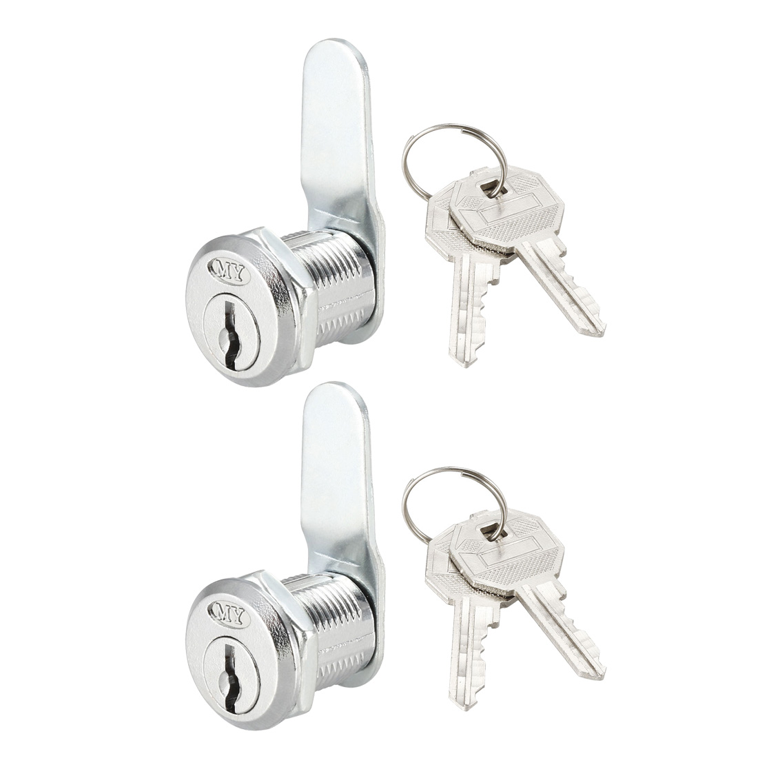 Cam Lock 20mm Cylinder Length 48mm x 2mm Cam Cabinet Locks Keyed Different 2Pcs
