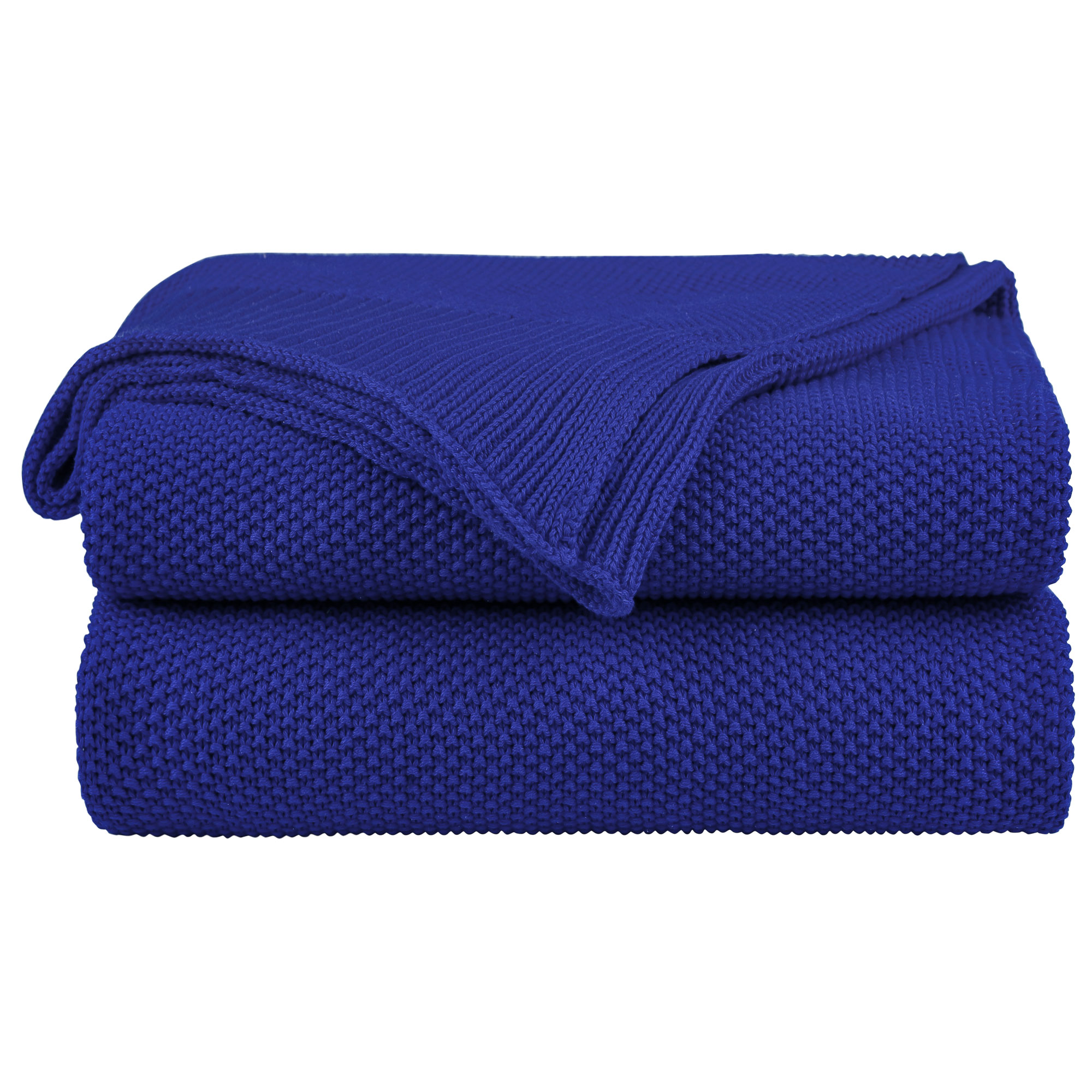"100% Cotton Soft Warm Knit Throw Size Blanket Bed Sofa 50"" x 60"" Royal Blue"