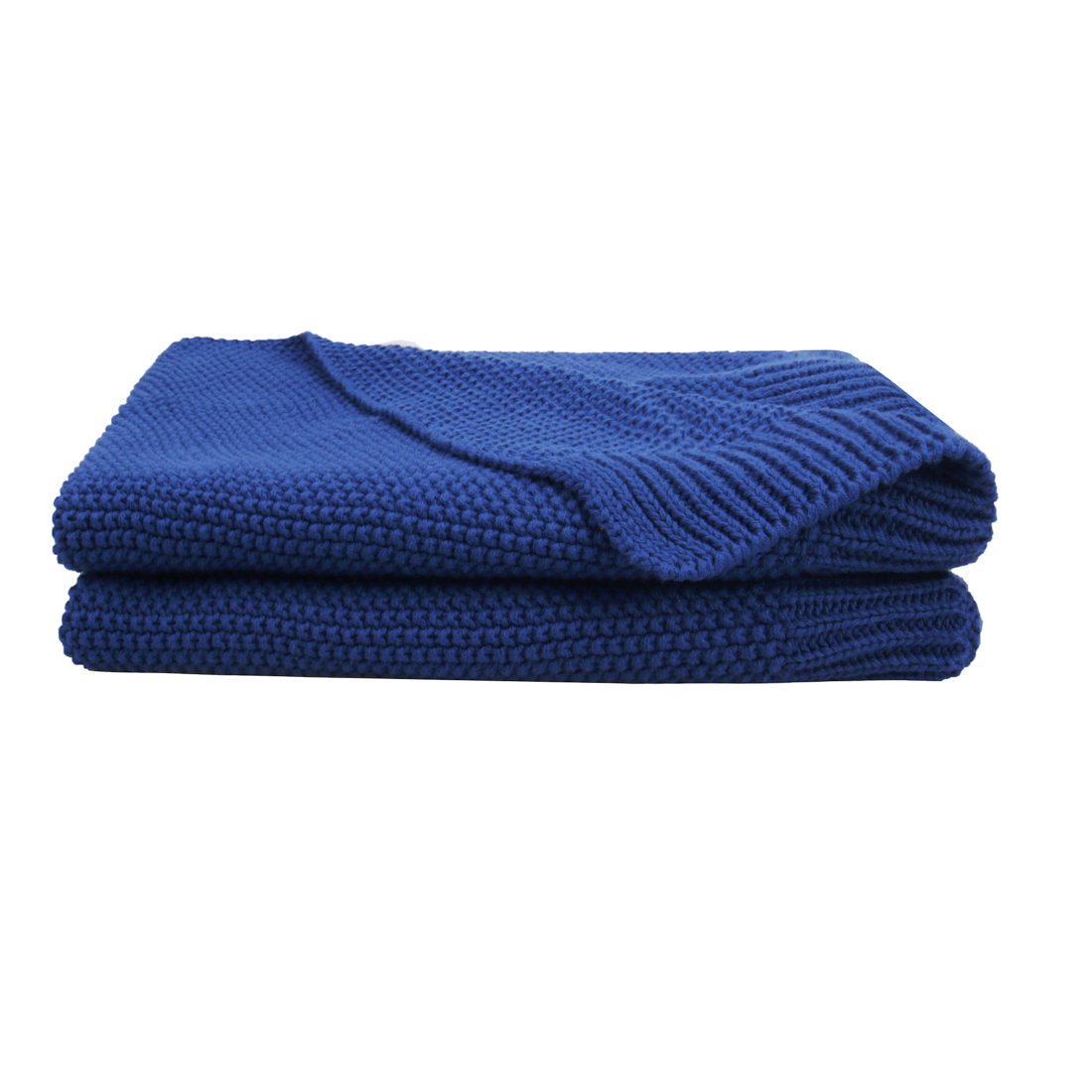 "100% Cotton Soft Warm Knit Solid Blanket Bed Sofa 30"" x 40"" Royal Blue"
