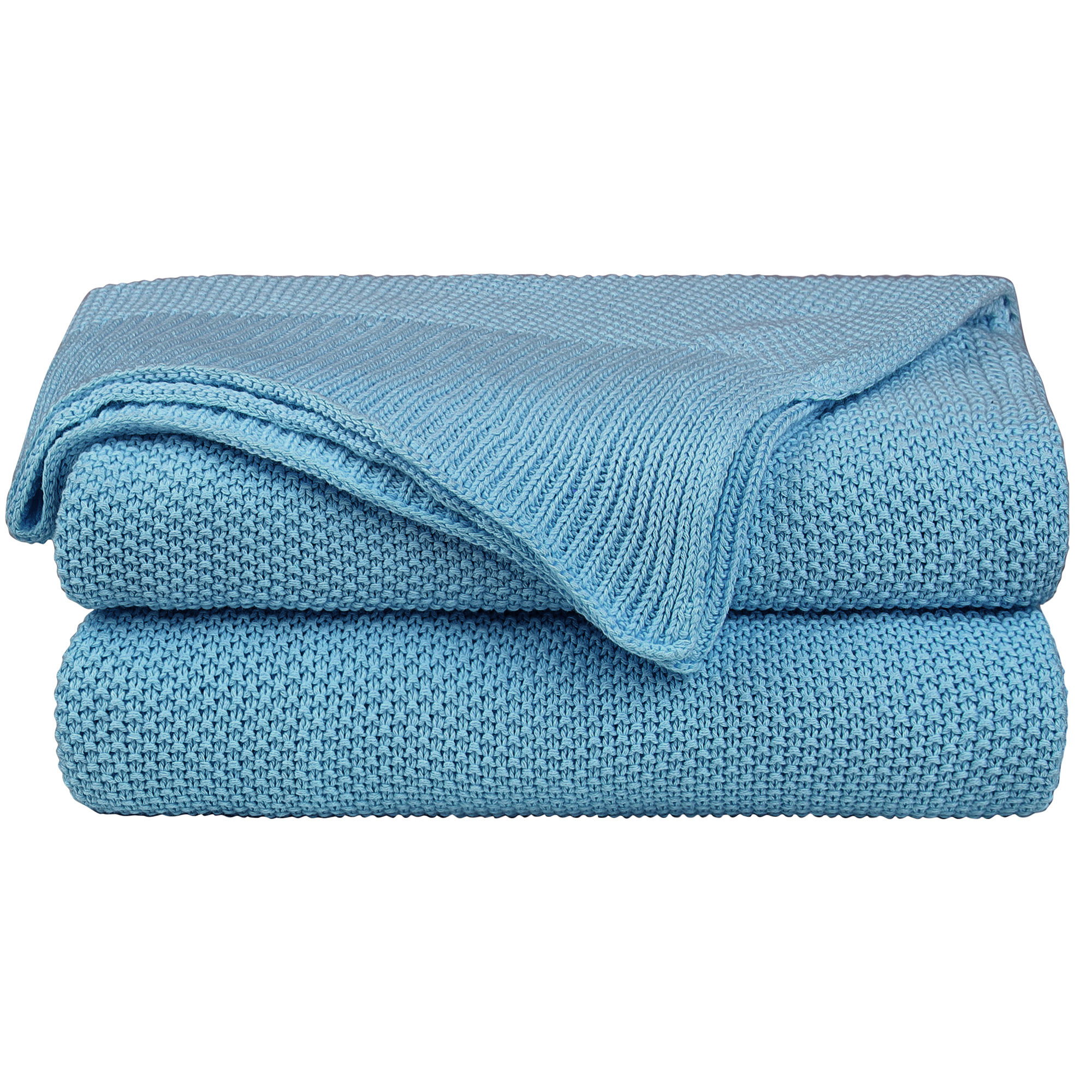 "100% Cotton Soft Warm Knit Twin Size Blanket Bed Sofa 60"" x 80"" Horizon Blue"