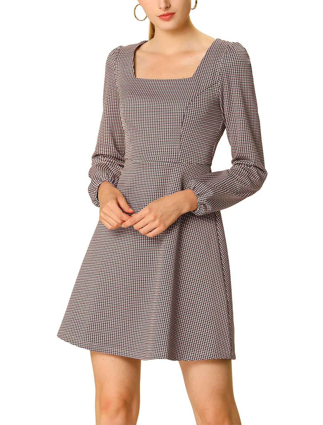 Allegra K Women's Fall Square Neck Vintage Mini Plaid Dress Pink L