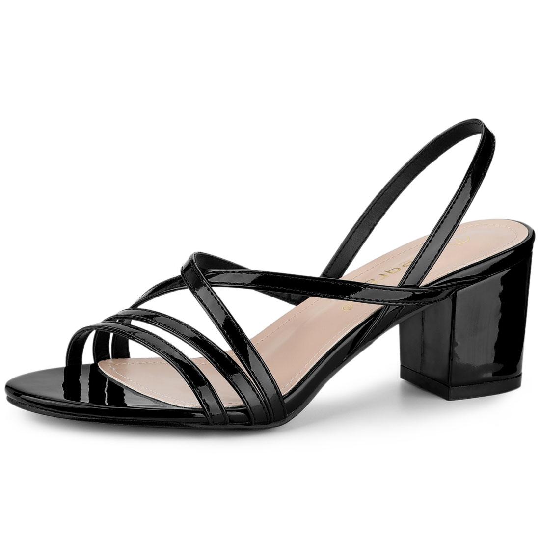 Allegra K Women's Strappy Slingback Chunky Heels Sandals Black US 9