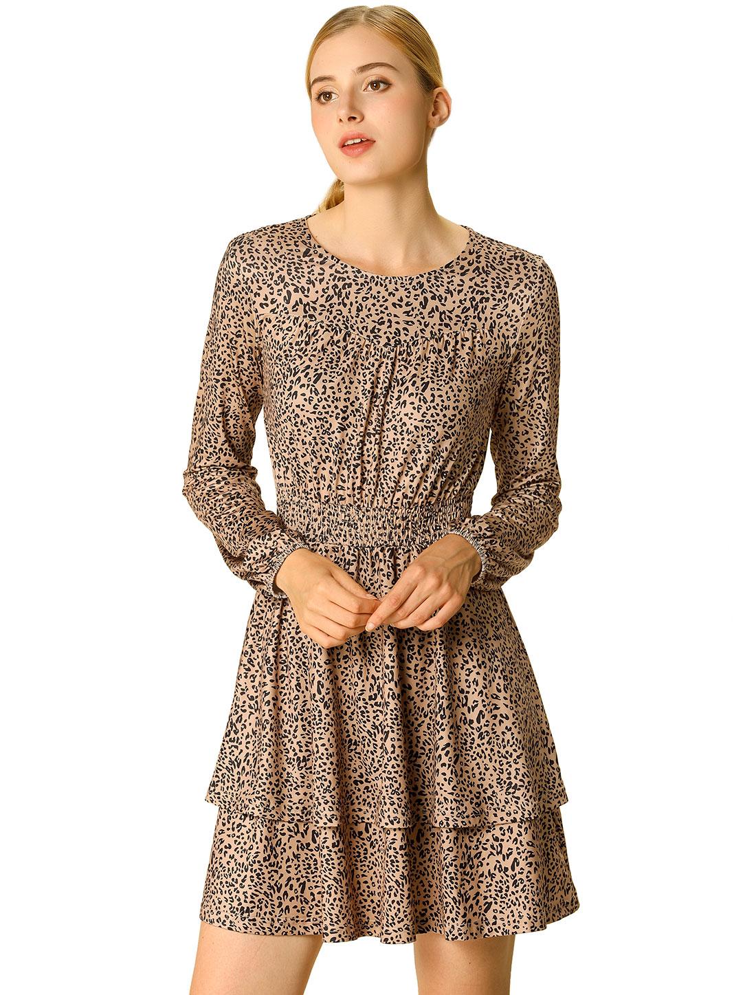 Women's Leopard Long Sleeve Layered Ruffle Hem Dress Light Brown M