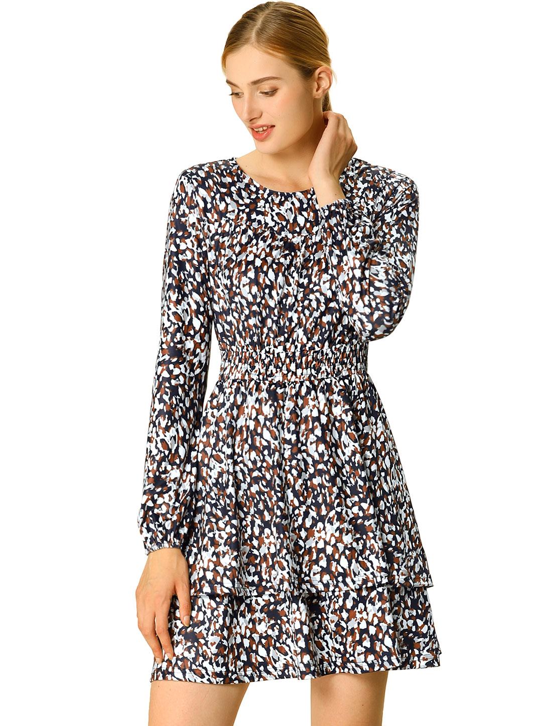 Women's Leopard Print Long Sleeve Layered Ruffle Hem Dress Blue S