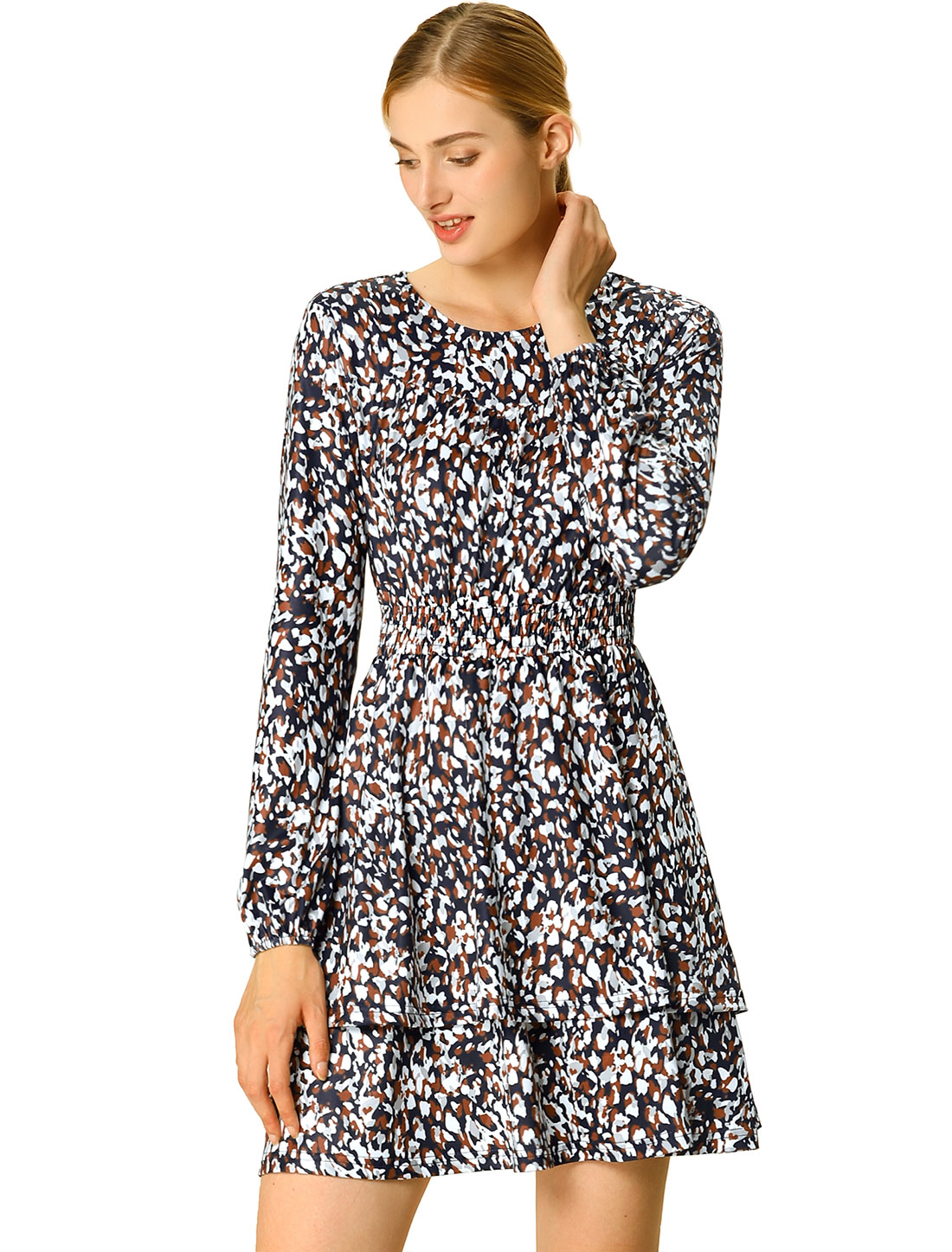 Women's Leopard Print Long Sleeve Layered Ruffle Hem Dress Blue L