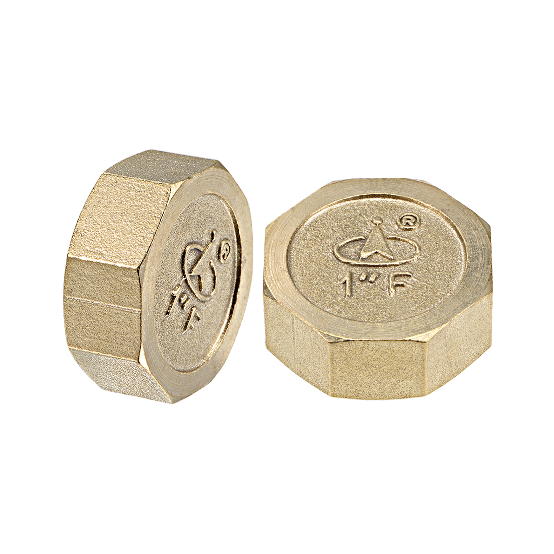 1-Inch Brass Cap 2pcs PT1 Female Pipe Fitting Hex Compression Valve Connector