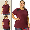 Women's Plus Size Basic Blouse Lace Panel Shoulder Casual Top Burgundy 2X